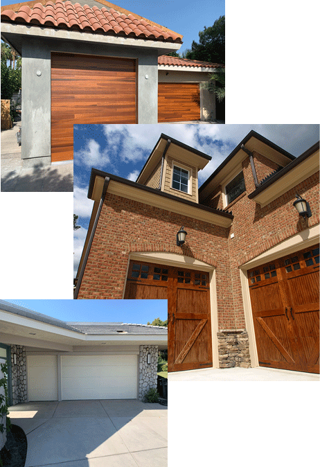 Image showing three images of various garage door styles